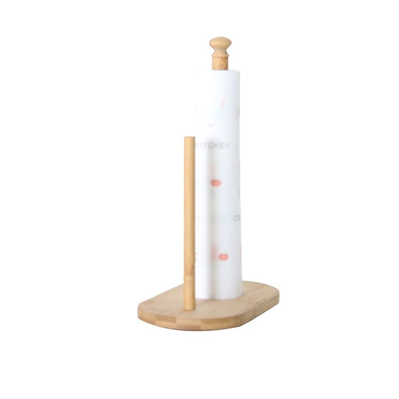 Giá Gỗ Cắt Khăn Giấy Cuộn cho phòng ăn nhà bếp,Đa năng có thể cắt túi bóng cuộn để bàn giúp Phòng Ăn nhà bếp Gọn Gàng,Kích thước 28 x 21 x 11,Đáy hình Oval màu Vàng Gỗ Tre - Giá Gỗ Cắt túi bóng quận thực phẩm