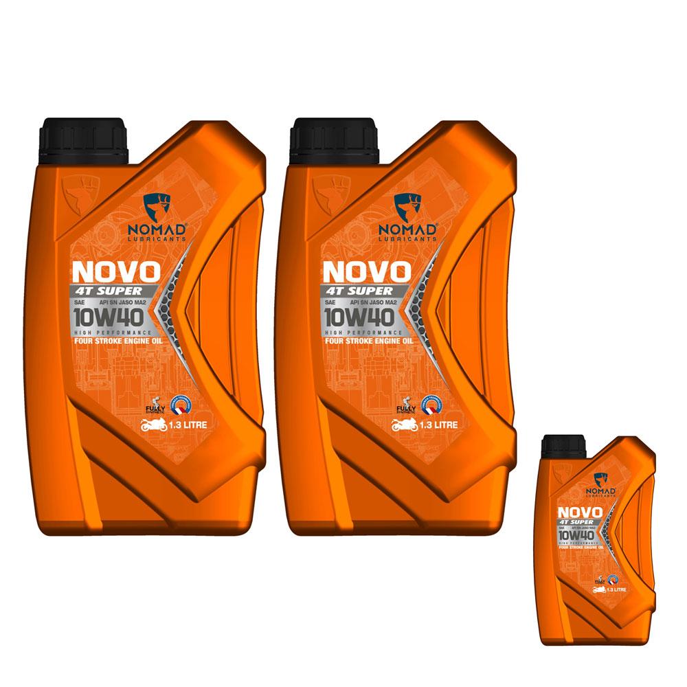 [Mua 2 tặng 1] Nhớt dành cho xe Raider (dầu nhờn động cơ đốt trong) Nomad NOVO 4T Super 10W40 API SN Jaso Ma 2, 1.3 Lít - Tặng chai cùng loại