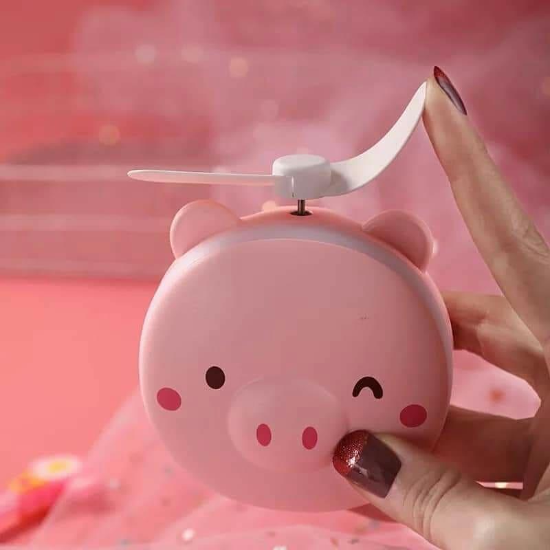 Quạt mini kèm gương và đèn Led hình dễ thương