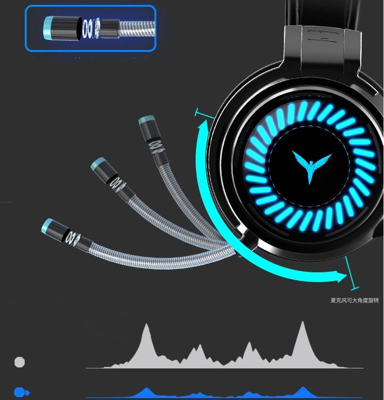 Tai nghe gaming có mic có đèn LED cho máy tính, điện thoại