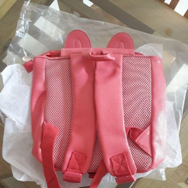 Balo da thỏ hồng nổi 3D kèm dây chống lạc