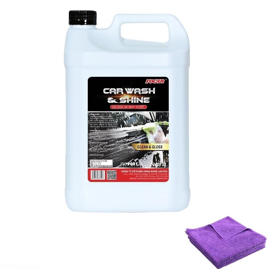 Combo Dung dịch rửa xe bọt tuyết siêu bóng FOCAR Car Wash and Shine 5L (Tặng 5 khăn lau)