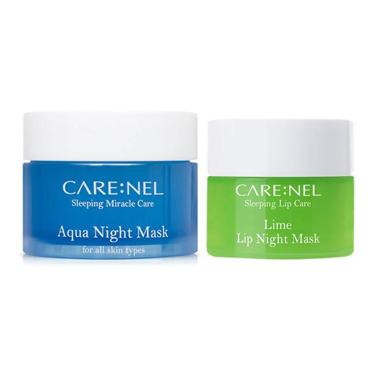 Combo Ủ Mặt Cấp Nước Dưỡng Ẩm Da Carenel Aqua Night Mask + Ủ Môi Care:nel Hương Chanh Lime Lip Night Mask Mềm Môi ,Tẩy Tế Bào Môi
