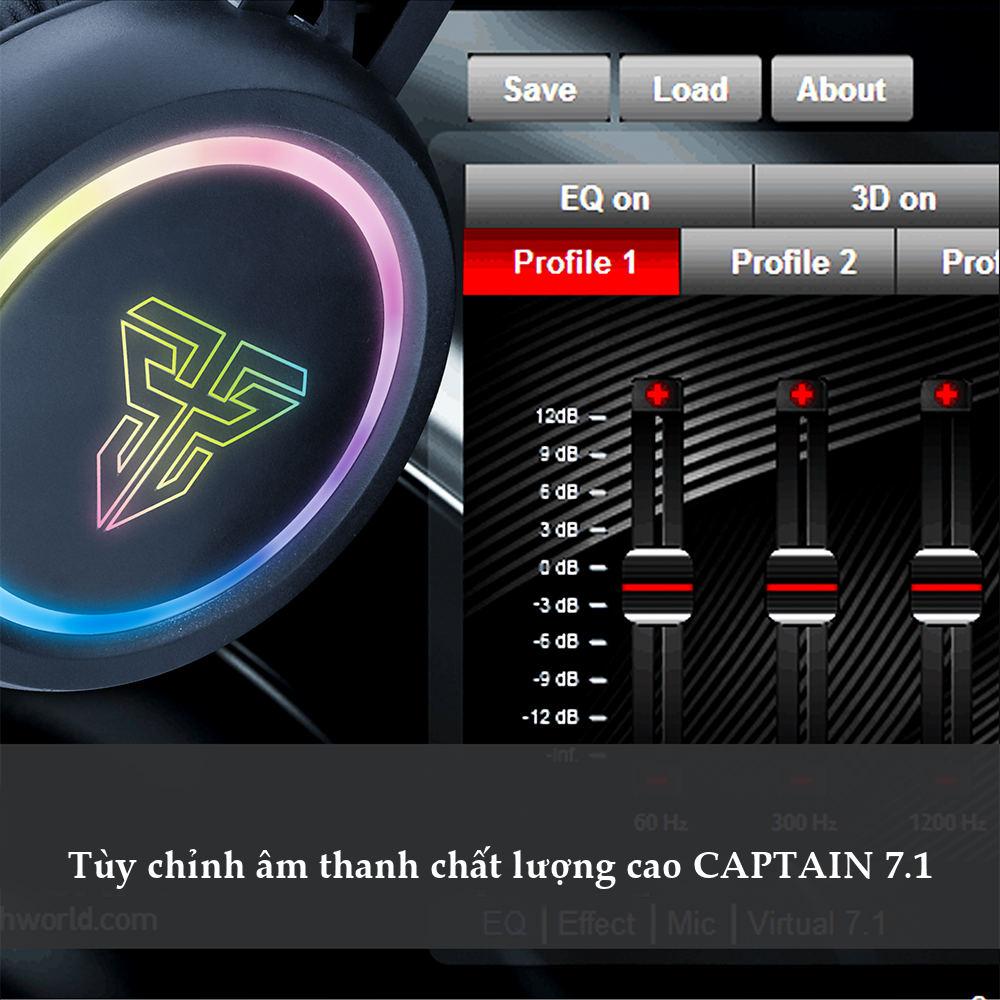 Tai nghe Gaming có dây âm thanh vòm  7.1 sound ( CAPTAIN 7.1 )  LED RGB Fantech HG15 - Hàng chính hãng