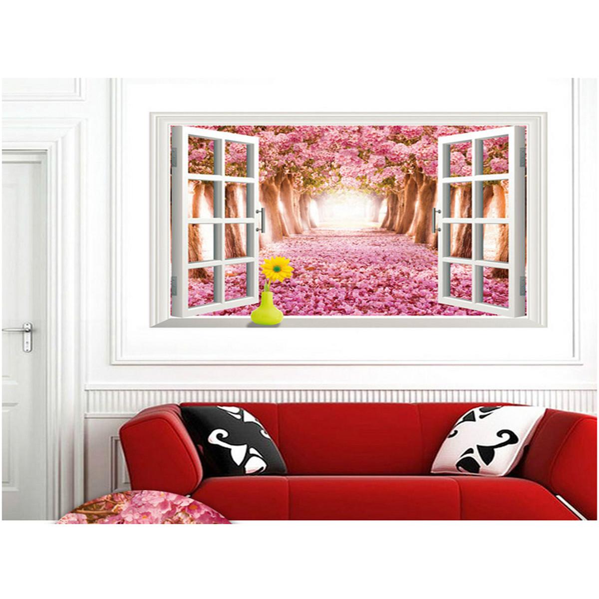 decal dán tường cửa sổ hoa anh đào