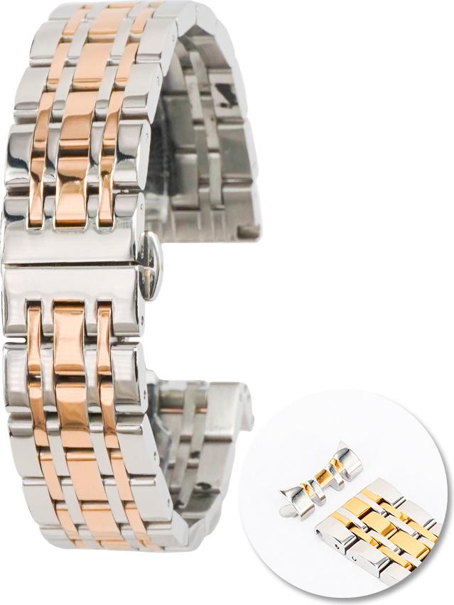 Dây đồng  hồ thép không gỉ cao cấp - Demi vàng hồng - 20mm