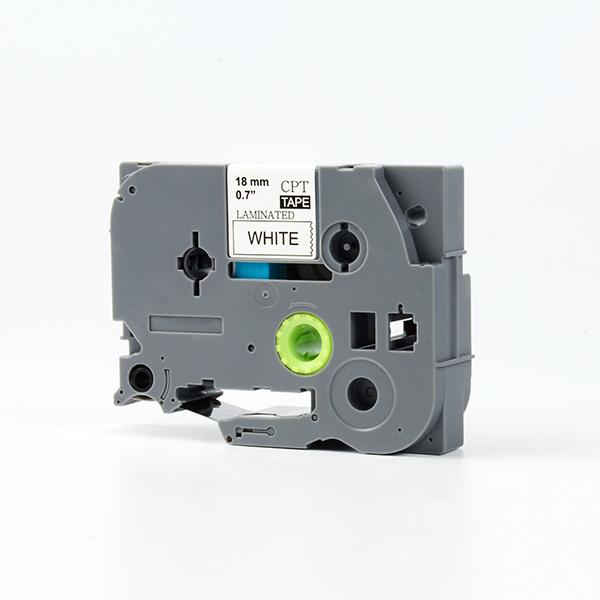 Tape nhãn in tương thích CPT-241 dùng cho máy in nhãn Brother P-Touch (chữ đen nền trắng, 18mm)