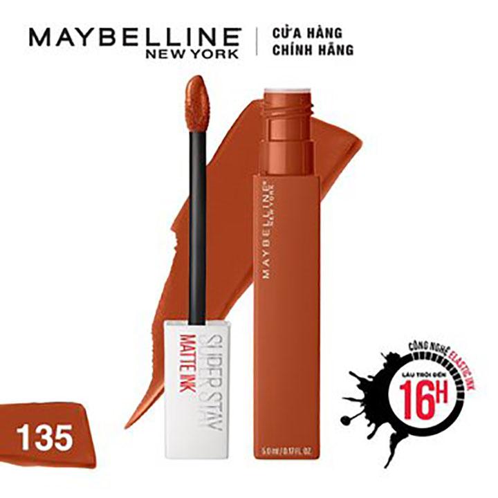 Son Kem Lì 16h Lâu Trôi Maybelline New York Super Stay Matte Ink Lipstick 5ml Màu 135 Globetrotter