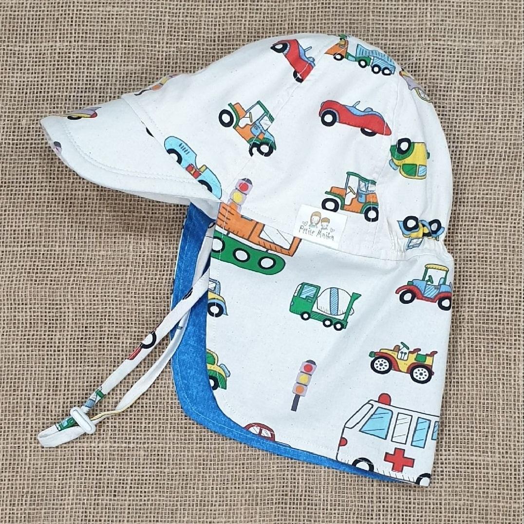 Mũ che gáy chống nắng cho bé trai từ 0 - 12 tuổi mẫu ô tô nền trắng đi biển dã ngoại