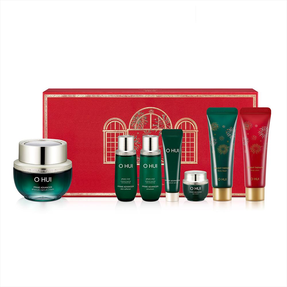 Bộ dưỡng củng cố cốt lõi da mặt và dưỡng thể OHUI Prime Advancer Ampoule Capture Cream Special Set 185ml