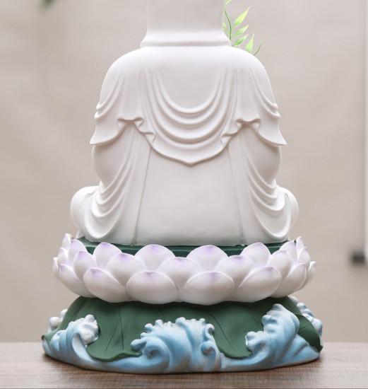 Tượng Quan Âm trắng nhựa composite 30cm