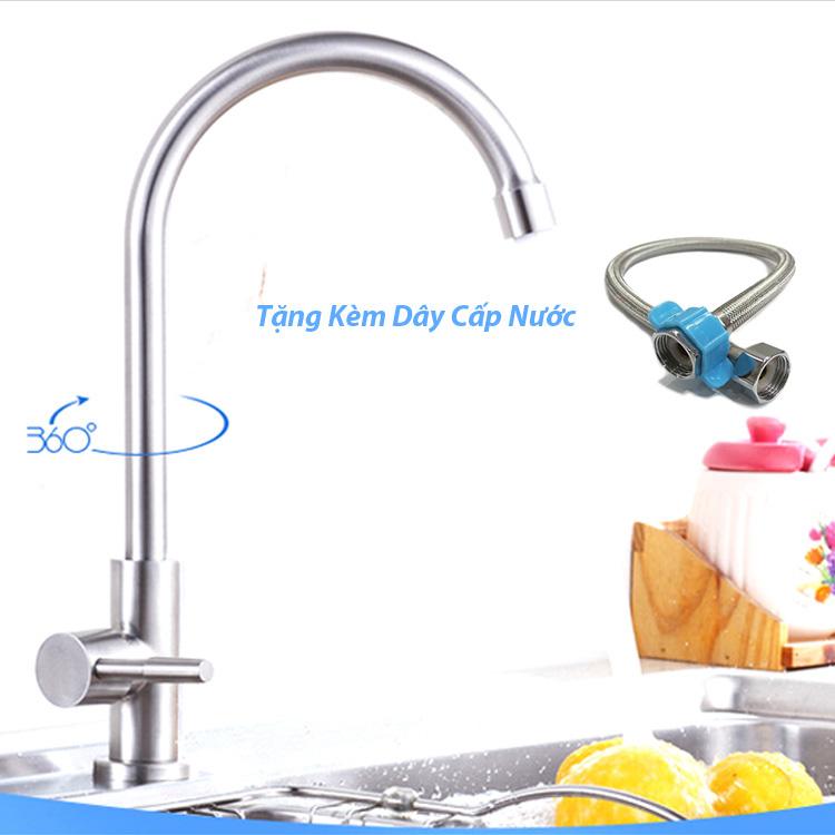 Vòi Nước Rửa Chén Lạnh Inox 304 Kèm Dây Cấp Nước