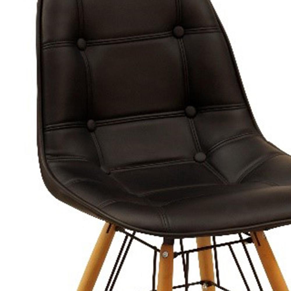 Ghế bàn ăn JYSK Kokong đệm da PU màu đen/chân gỗ tự nhiên 51.5x48x59.5cm