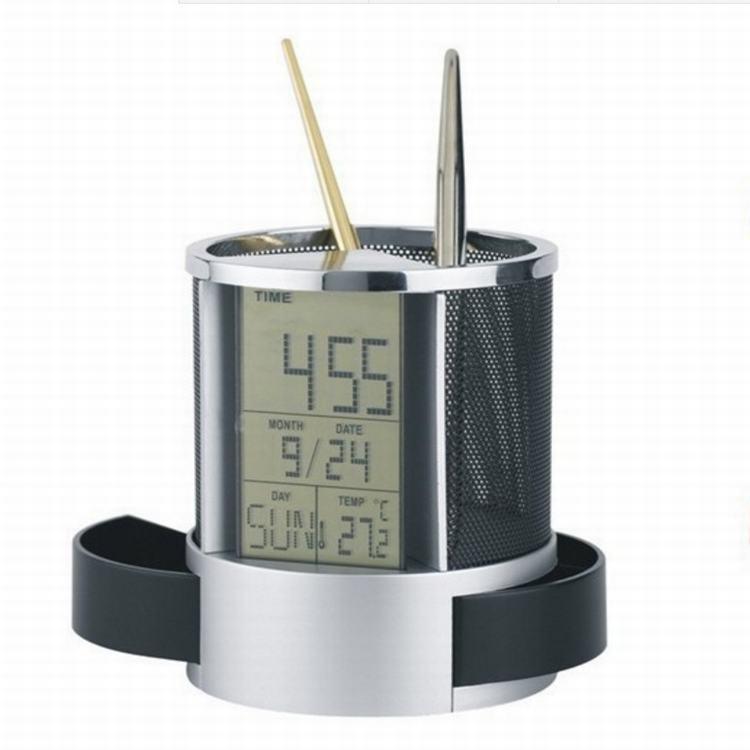Đồng hồ để bàn kiêm hộp đựng bút, đo nhiệt độ cao cấp