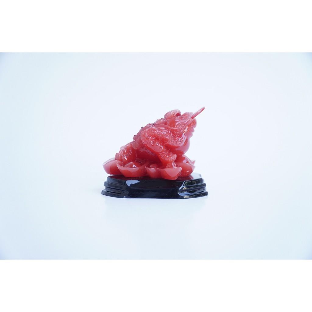 Tượng Cóc Thiềm Thừ ngọc đỏ may mắn tài lộc - Cao 7cm