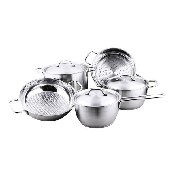 Bộ nồi xửng hấp quánh chảo caro inox 430 bếp từ 3 đáy FiveStars 5 món - Bạc Inox