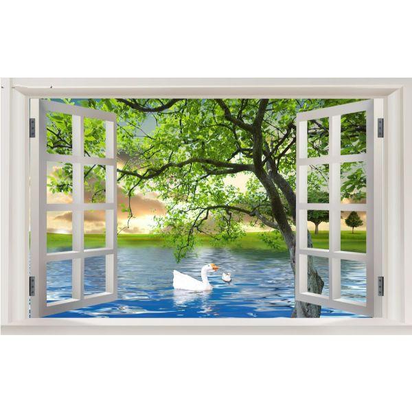 Tranh dán tường cửa sổ 3D | Tranh trang trí cửa sổ 3D | Tranh đẹp cửa sổ 3D | Tranh 3D cửa sổ đặc sắc | T3DMN T6 3D-021