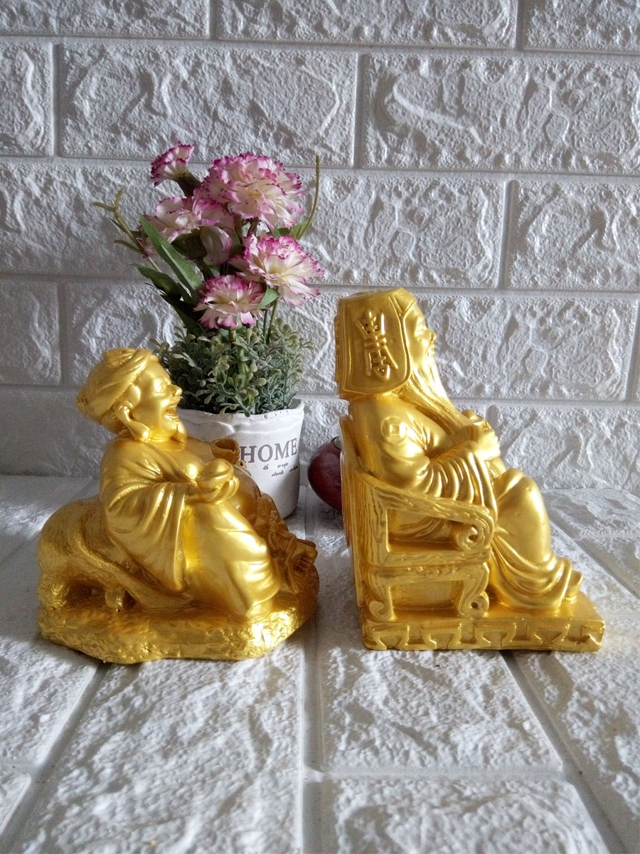 Tượng Thần Tài - Thổ Địa cỡ trung màu vàng - size 22cm hai tượng - TDV22