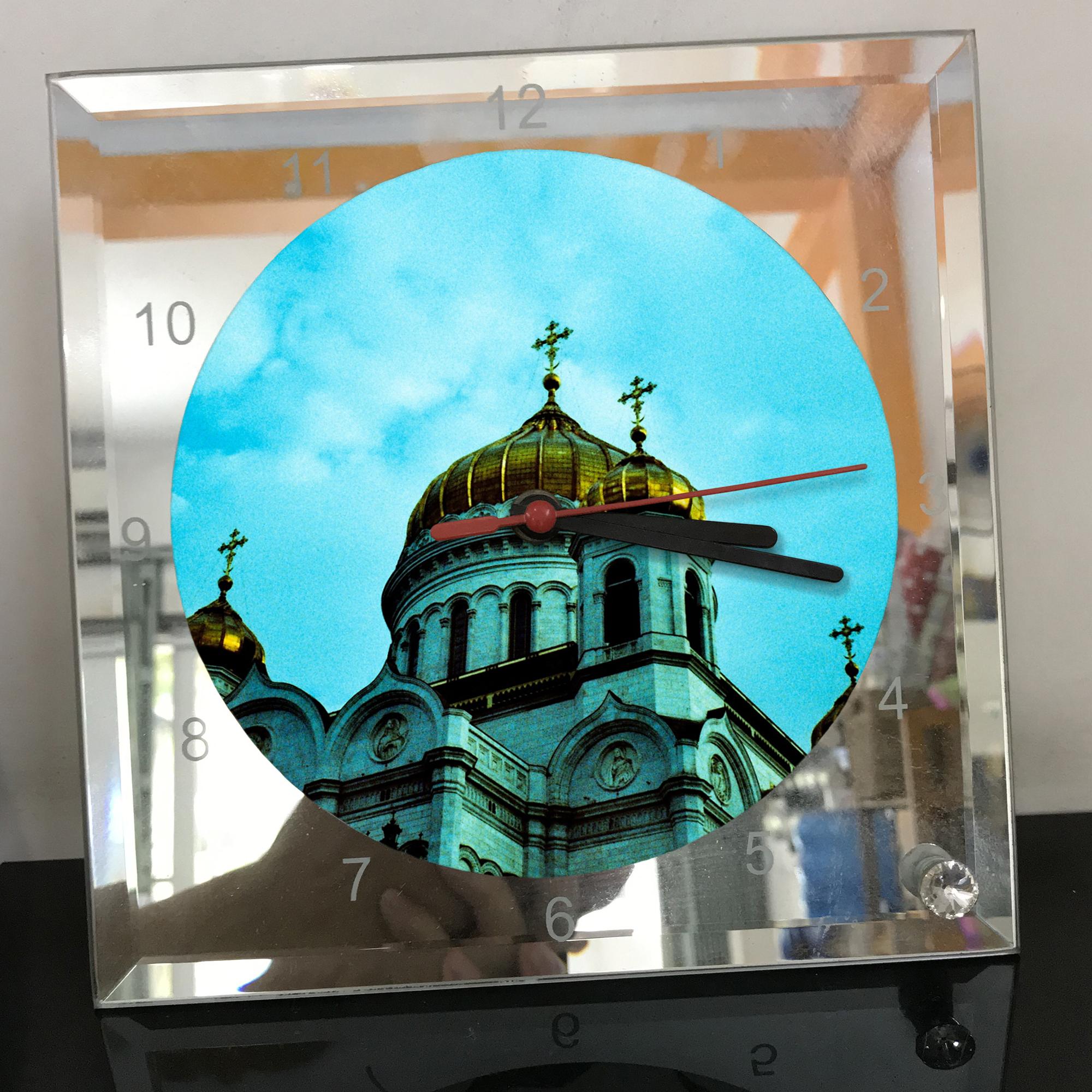 Đồng hồ thủy tinh vuông 20x20 in hình Cathedral Of Christ the saviour (48) . Đồng hồ thủy tinh để bàn trang trí đẹp chủ đề tôn giáo