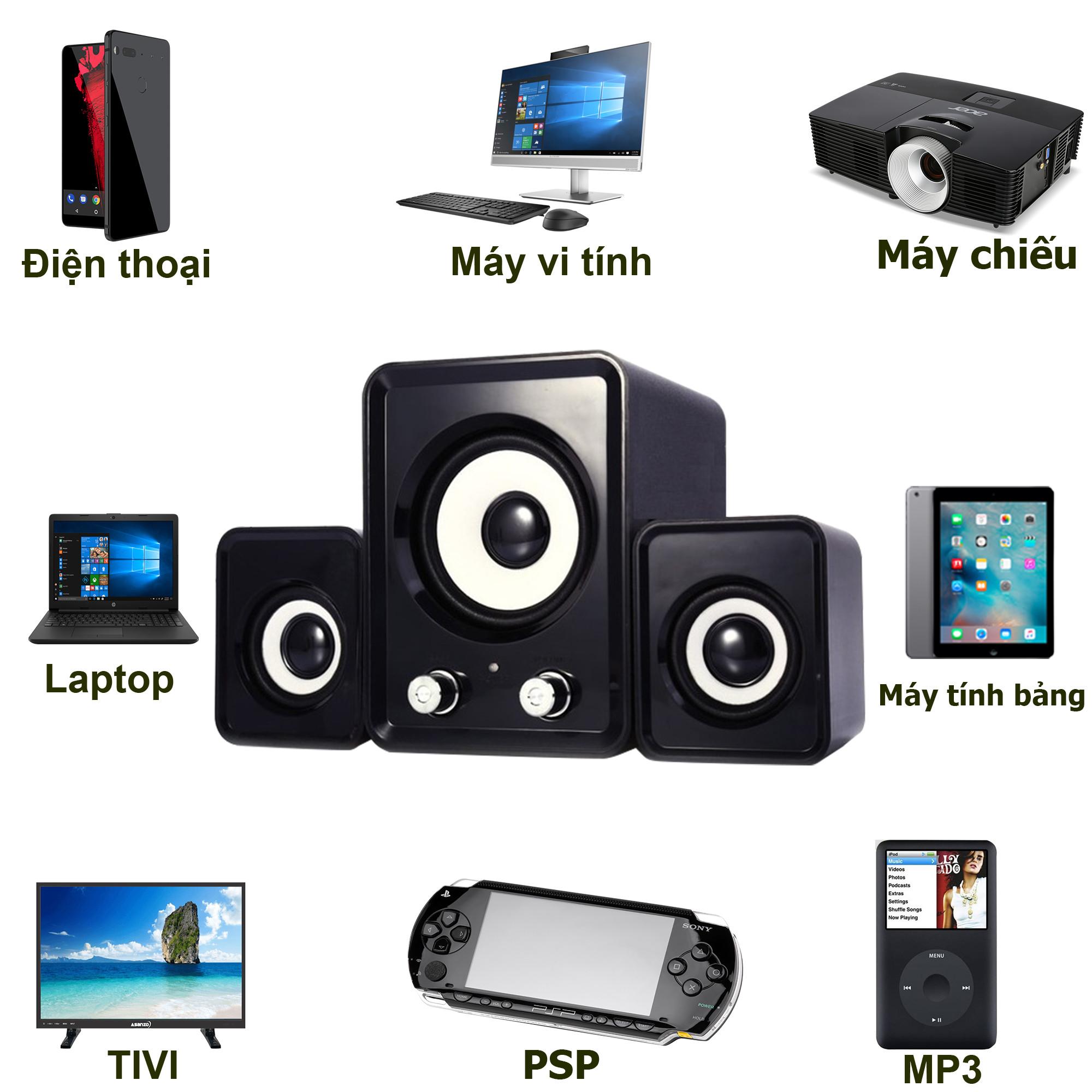 Loa vi tính 2n điện thoại máy tính laptop bass bộ 3 loa đen