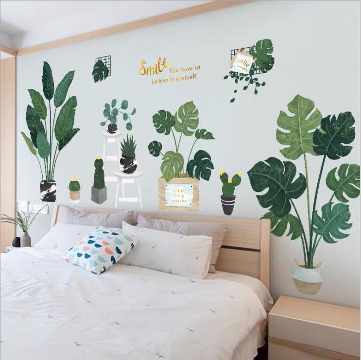 Decal dán tường trang trí tiểu cảnh Smile phong cách Hàn Quốc (90 x 180 cm)