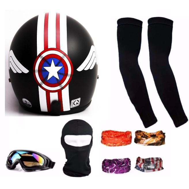 Bộ 1 nón bảo hiểm 3/4 Tem phượt + mũ ninja + đôi bao tay + kính phượt + Tặng 1 khăn phượt đa năng màu bất kỳ