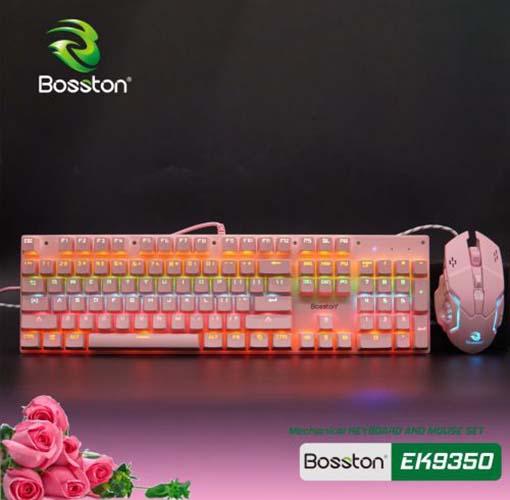 Combo Phím Chuột Cơ Bosston EK9350 Hồng (Pink) Hàng Chính Hãng