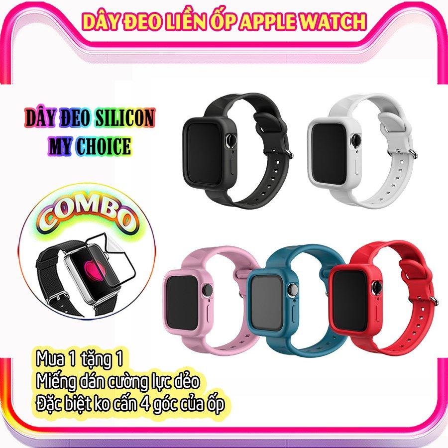 Dây Đeo liền ốp dành cho Apple Watch size 38/40/42/44mm silicon my choice - Xanh (tặng dán KCL theo size)