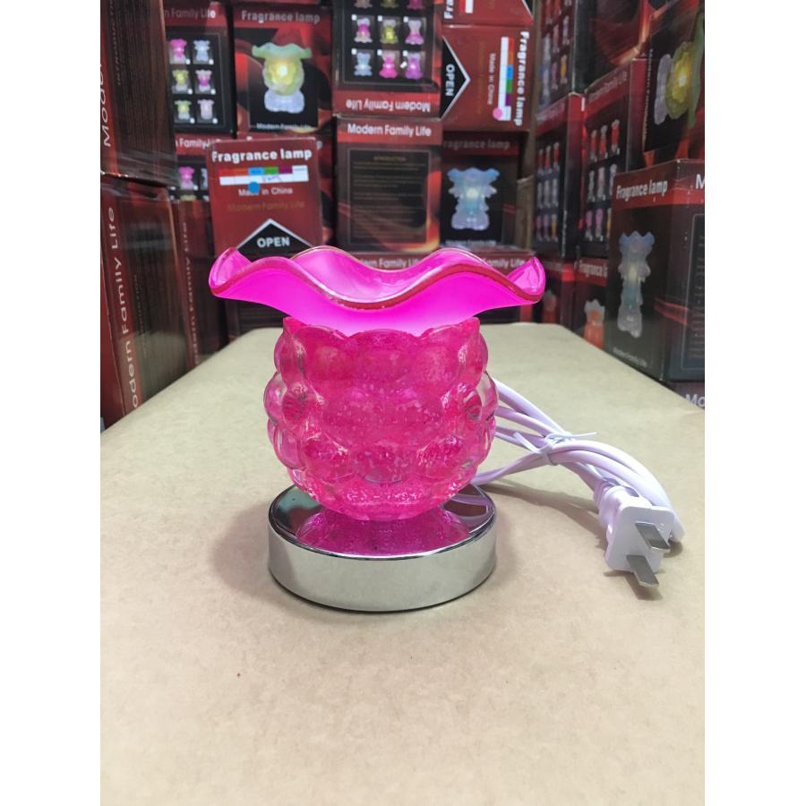 Combo 2 Đèn xông tinh dầu thủy tinh cảm ứng nho kèm 2 chai tinh dầu sả chanh và 2 bóng đèn (Giao màu ngẫu nhiên)