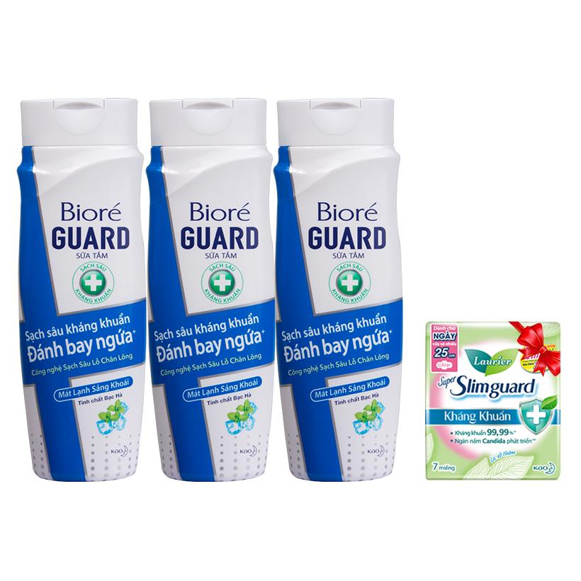 Bộ 3 Sữa Tắm Sạch Sâu Kháng Khuẩn Mát Lạnh Sảng Khoái Biore Guard 220g Tặng 1 Băng vệ sinh siêu mỏng Laurier 7 Miếng