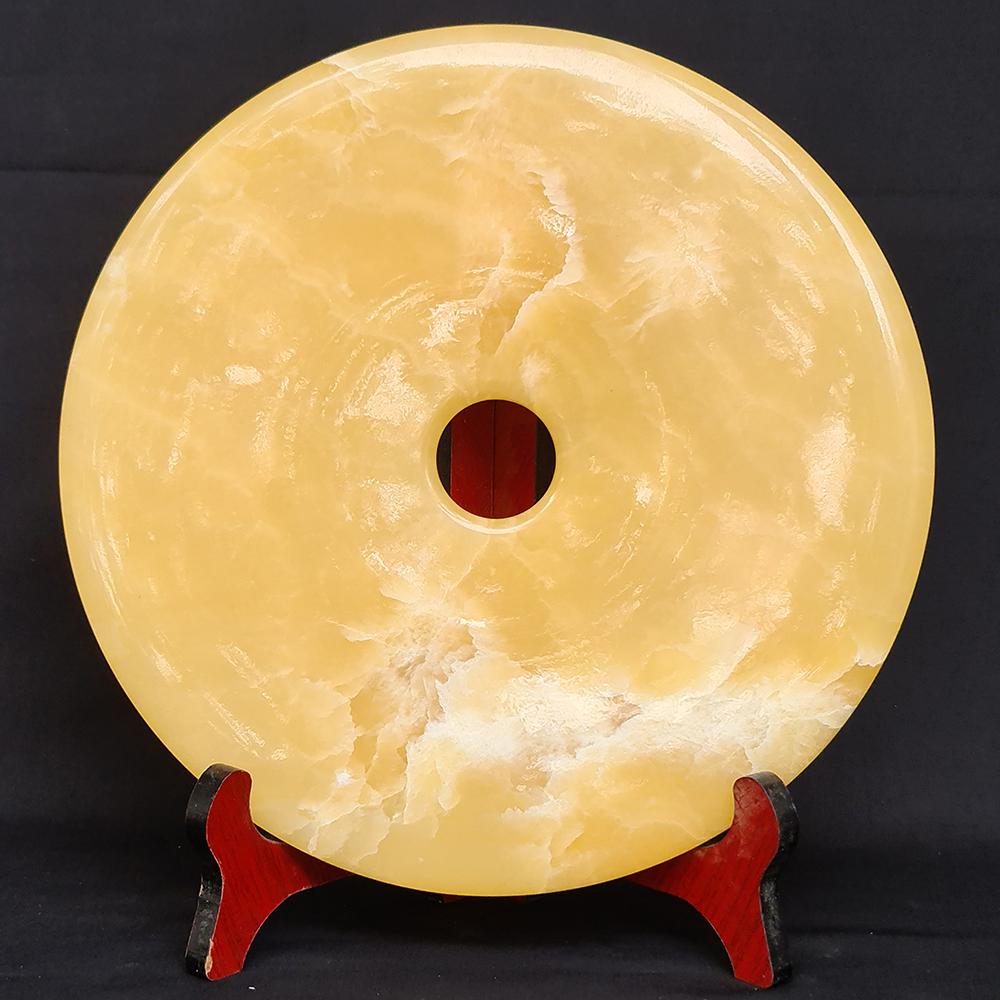 Đồng Điếu Để Bàn Phong Thuỷ Đá Ngọc Hoàng Long Vàng - Mx