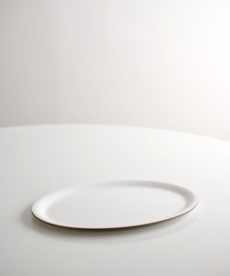 Khay cà phê hình oval màu trắng Holzklotz (23x32cm)