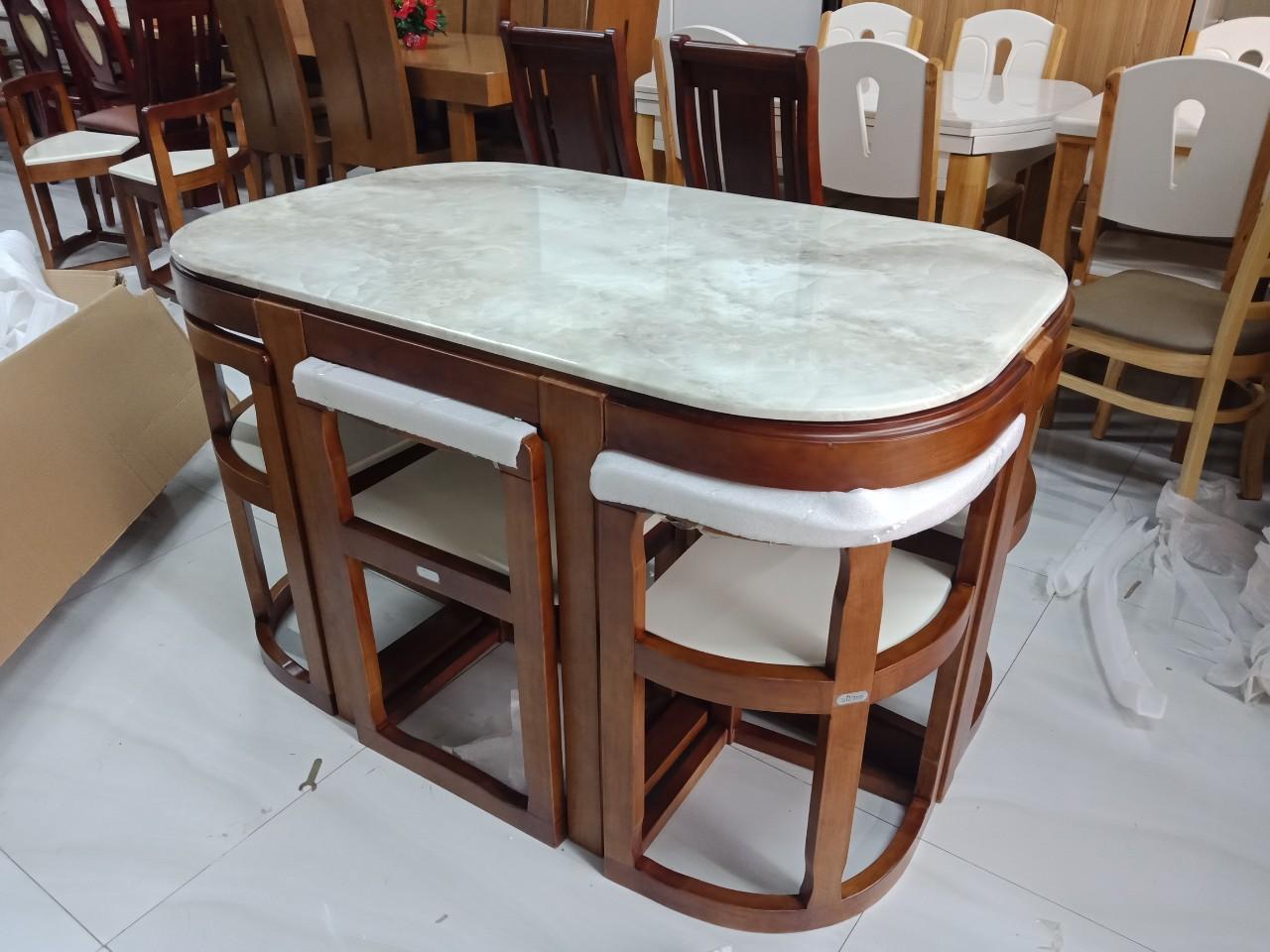 Bộ bàn ăn mặt đá thông minh xếp gọn 6 ghế 1M3
