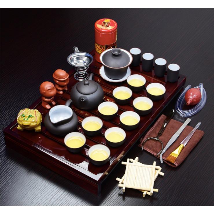 Bộ ấm trà sứ có khay đựng gỗ cổ điển phong cách Nhật Bản