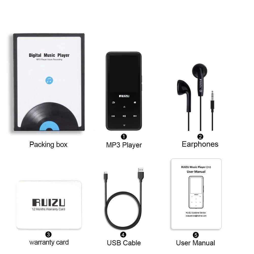 Ruizu D10 - Máy nghe nhạc Lossless, mày hình 2.4 icnh, Bluetooth 4.1 - Hàng Chính Hãng