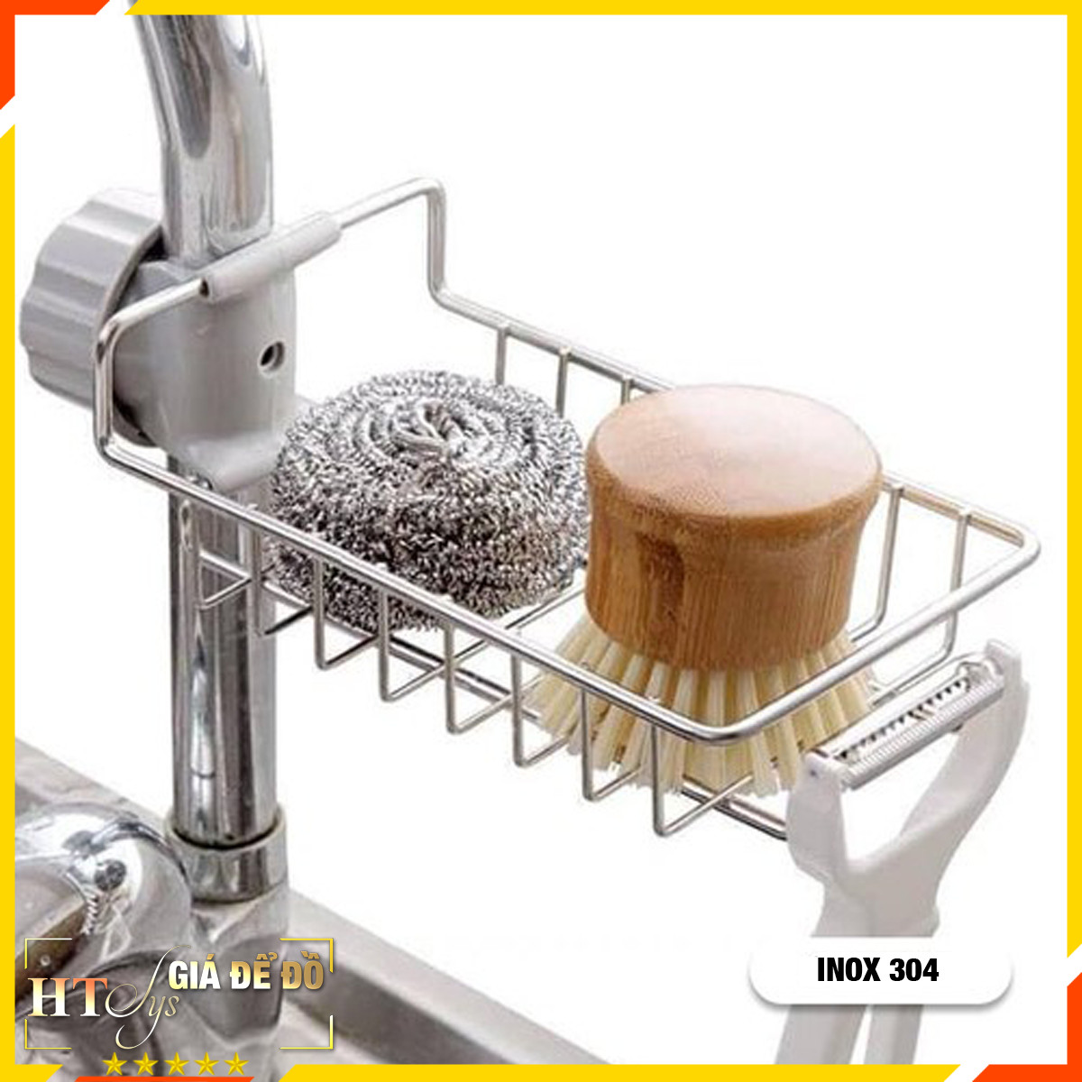 Giá để đồ cài vòi rửa bát HT SYS -Kệ inox đựng miếng rửa bát gắn vòi
