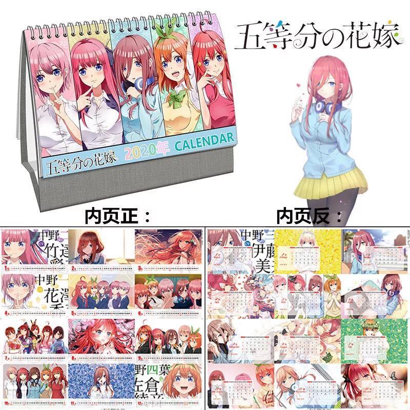 (Lịch 2020) Lịch để bàn hình Anime Gotoubun no Hanayome - Nhà có năm nàng dâu