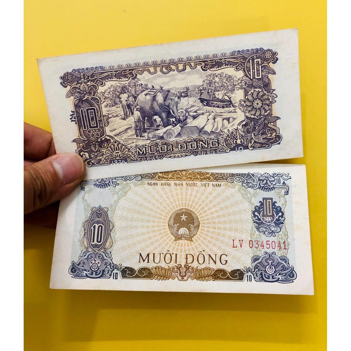 Tờ 10 đồng Việt Nam 1976 voi kéo gỗ , thời bao cấp sau giải phóng , tặng kèm bao lì xì - The Merrick Mint