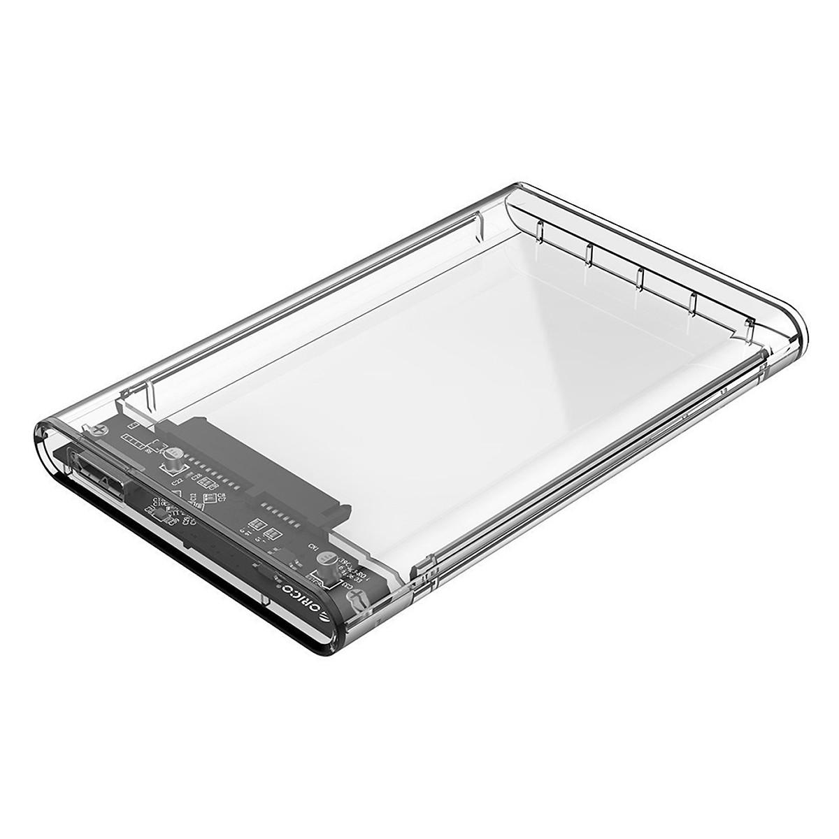 """Hộp Đựng Ổ Cứng (HDD Box) 2.5"""" Orico USB 3.0 Nhựa Trong Suốt cho Ổ HDD và SDD - Hàng Chính Hãng"""