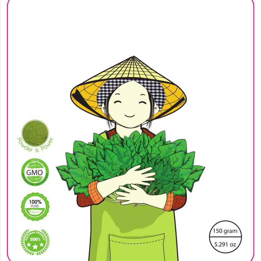 Bột cải bó xôi 100  nguyên chất binachân vịt Spinach powder 50 gram