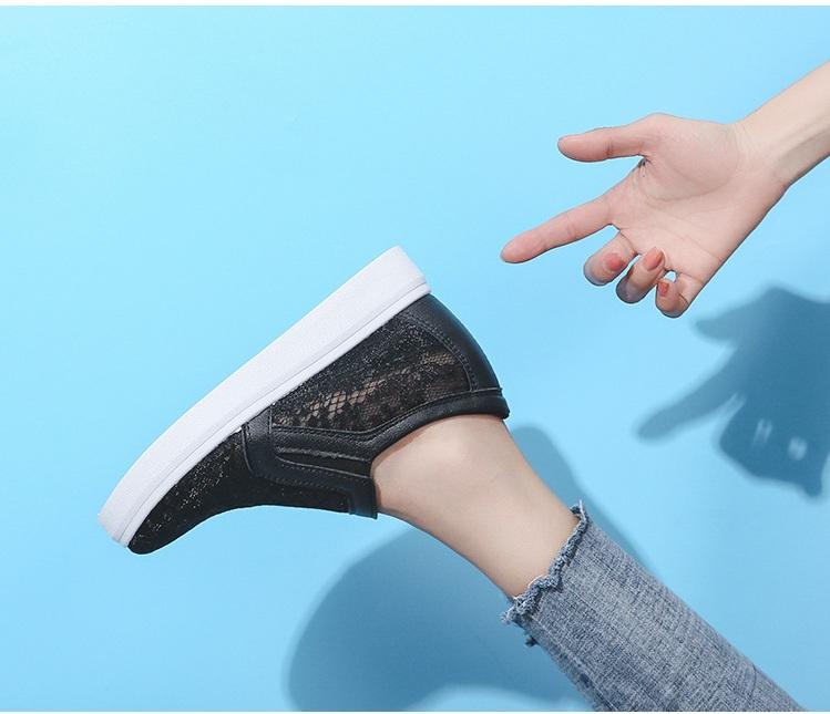 [CHẤT LƯỢNG] Giày độn đế nữ, giày slip on nữ đế độn lưới V09 êm chân, hàng Quảng Châu loại 01 S076