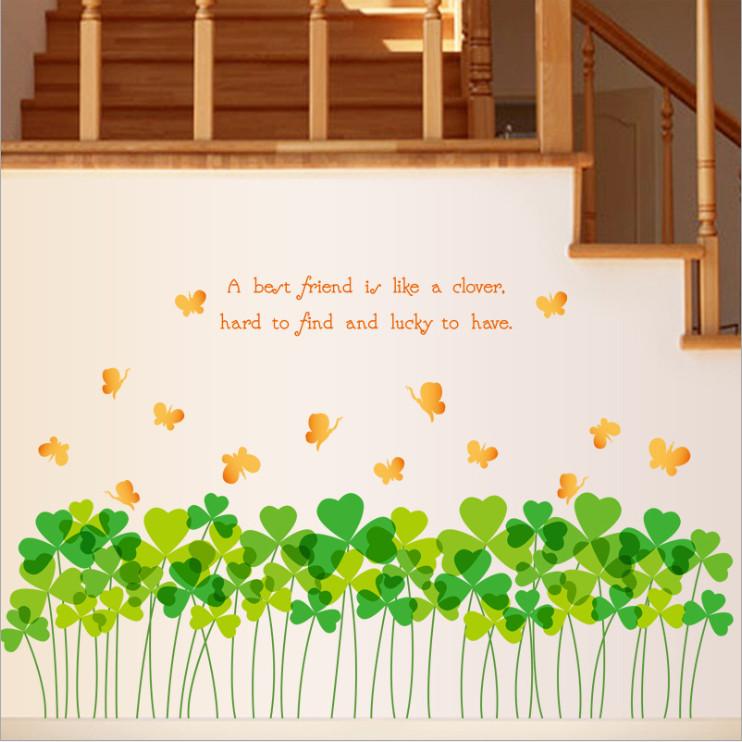 Decal dán chân tường trang trí nhà cửa đẹp lạ Cỏ bốn lá may mắn số 3 DCT043 - 2 bộ (60 x 200 cm)