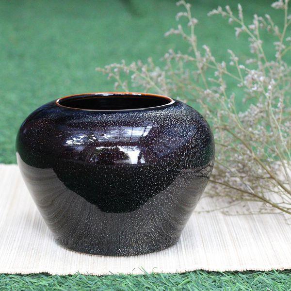 Lọ hoa gốm men hỏa biến Bát Tràng cao cấp lọ vò MNV-LHGHN01