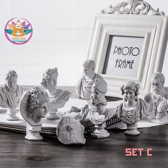 Bộ 10 đầu tượng bán thân mini nhựa thạch cao