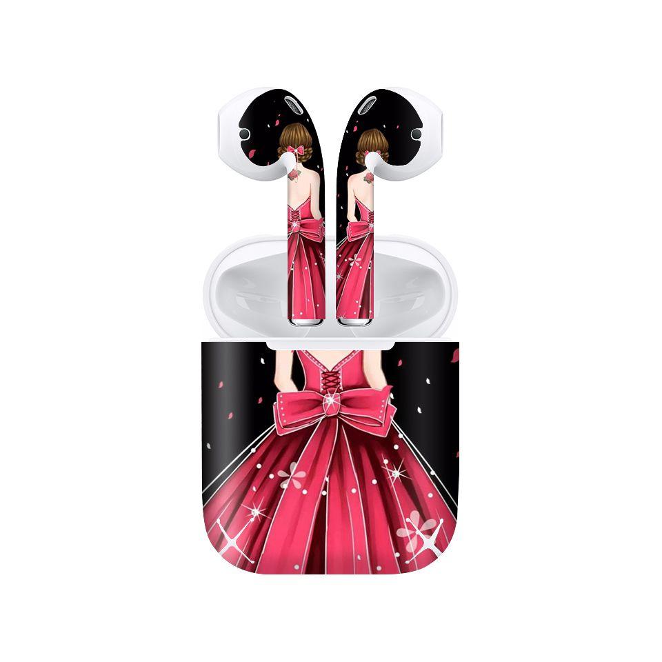 Miếng dán skin chống bẩn cho tai nghe AirPods in hình Cô gái váy hồng - Gin009 (bản không dây 1 và 2)