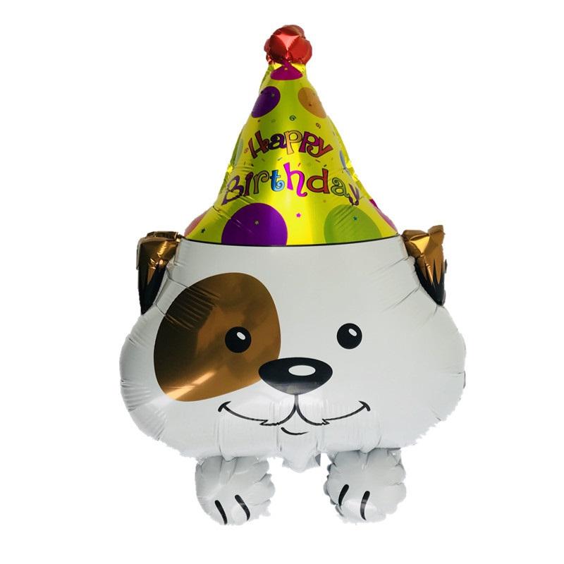 Bong bóng cún đội nón sinh nhật