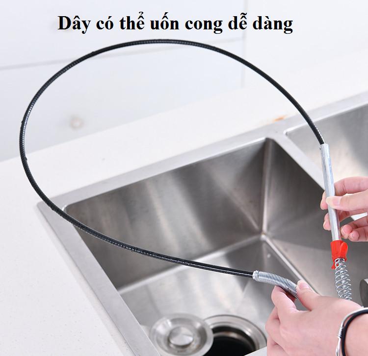 Dây thông cống, dây lấy rác ngăn nghẹt cống, dụng cụ thông cống móc rác lò xò đa năng GD385-DTCong