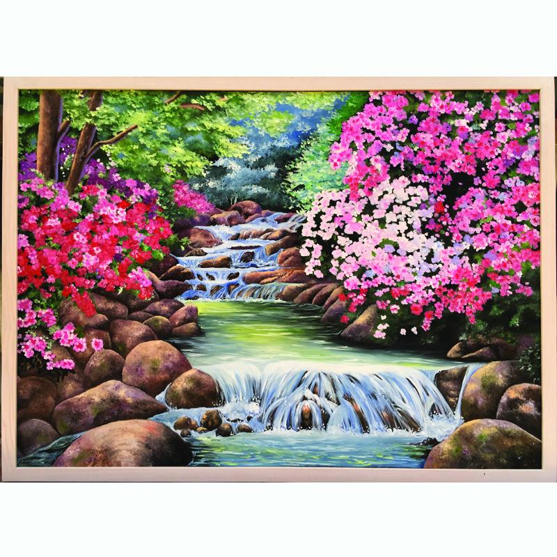 Tranh sơn dầu vẽ tay Thác nước xuân OP012