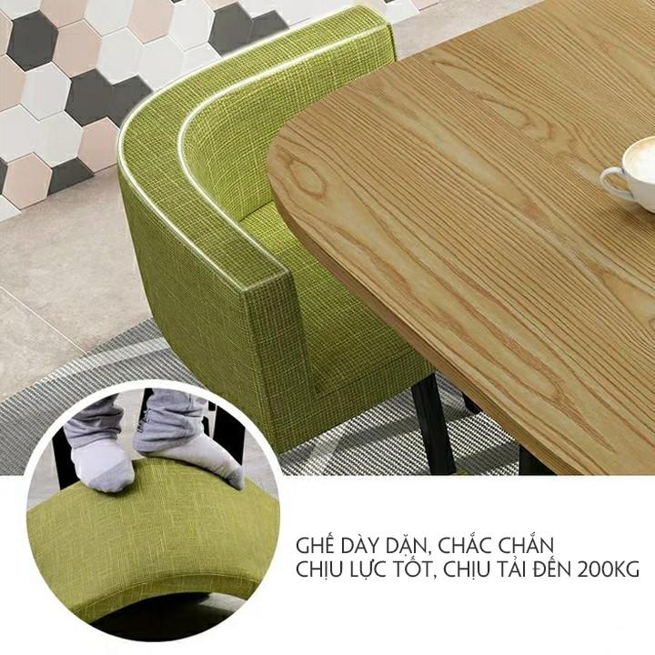 Bàn ăn kèm ghế mặt bàn gỗ họa tiết đá cẩm thạch.Mặt bàn Gỗ MDF chống ẩm, chịu lực cao, Mặt ghế Bọc da, chân thép.