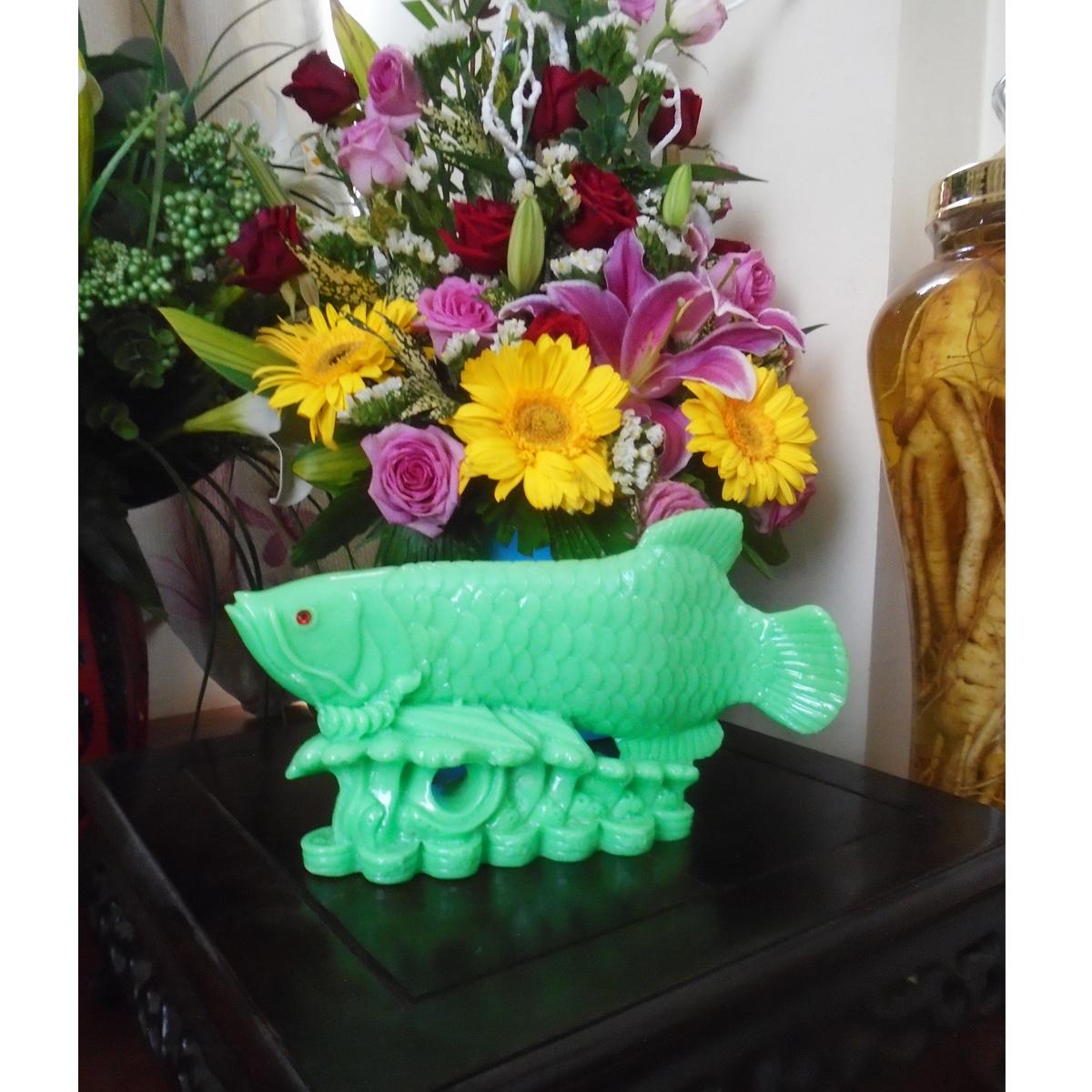 Cá Rồng ngậm tiền - Kim Long Đắc Lộc - bột đá poly màu xanh ngọc - CKLX27